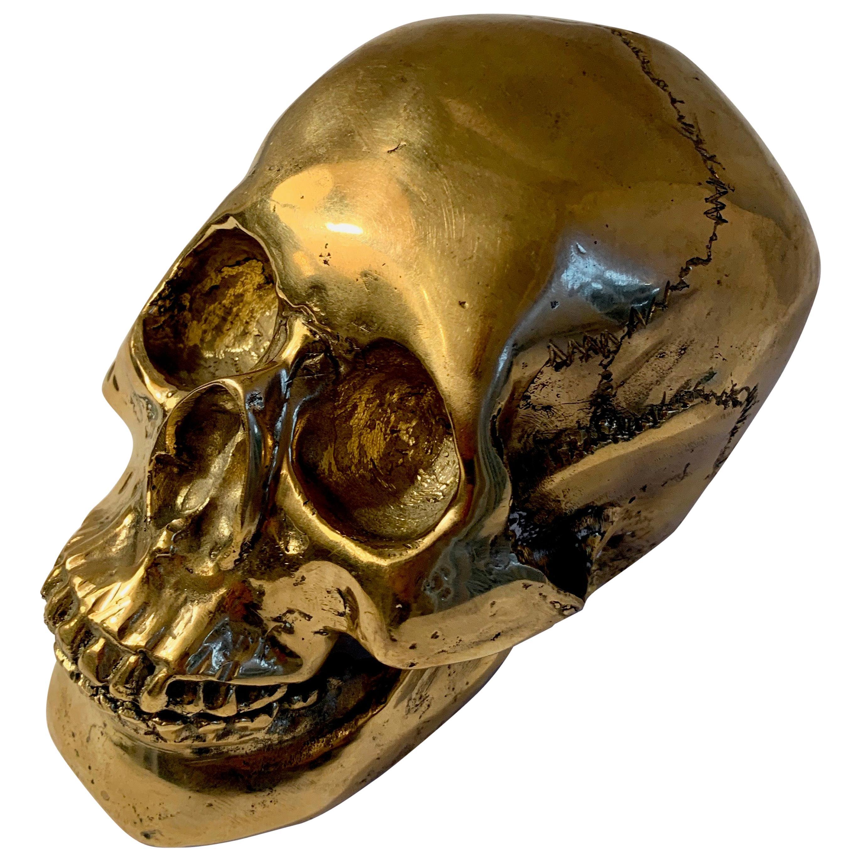 Brass Skull Sculpture Bookend