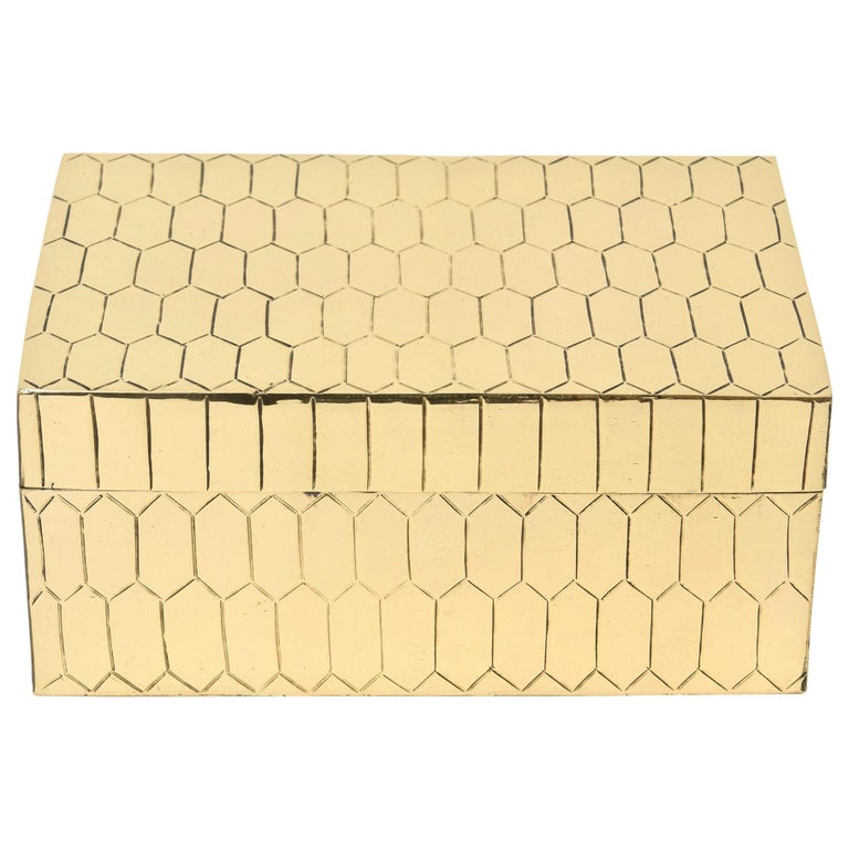 Brass Snakeskin Textured Hinged Box Vintage Desk Accessory For Sale