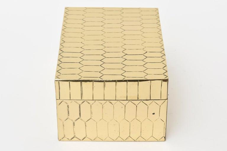 Modern Brass Snakeskin Textured Hinged Box Vintage Desk Accessory For Sale