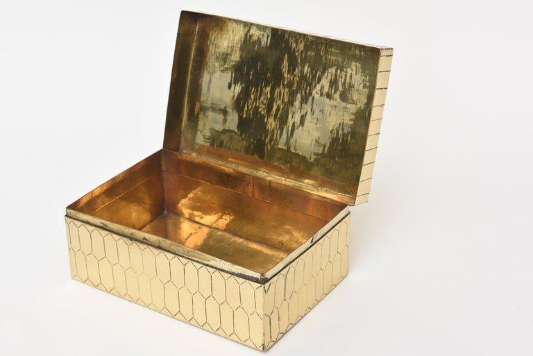 Late 20th Century Brass Snakeskin Textured Hinged Box Vintage Desk Accessory For Sale