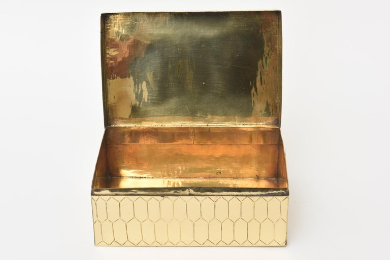 Brass Snakeskin Textured Hinged Box Vintage Desk Accessory For Sale 1