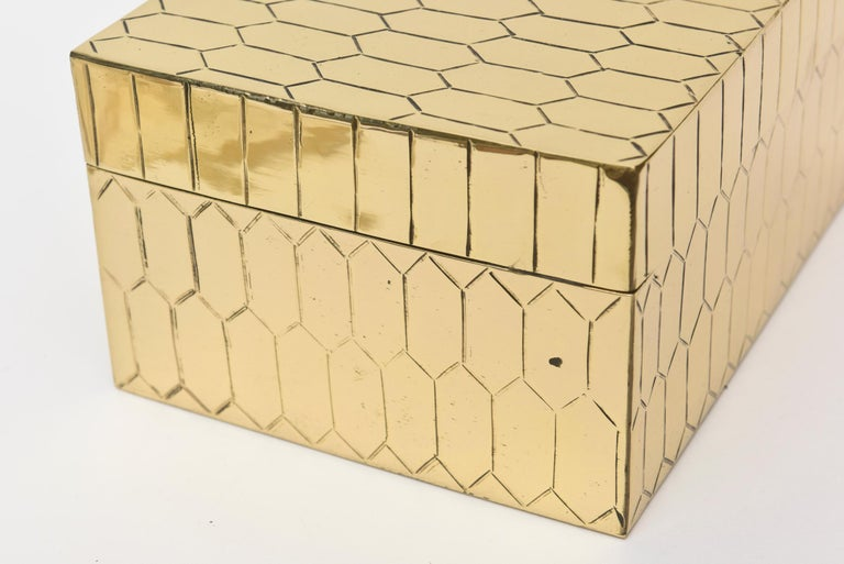 Brass Snakeskin Textured Hinged Box Vintage Desk Accessory For Sale 3