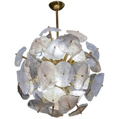 Brass Sphere with Murano Glass Leaves Chandelier