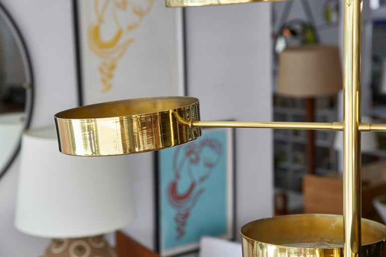 Contemporary Brass Spiral Disc Light in the Style of Stilnovo For Sale
