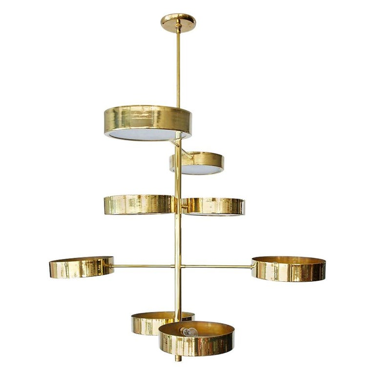 Brass Spiral Disc Light in the Style of Stilnovo For Sale