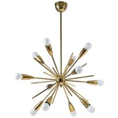 Brass Sputnik Chandelier, 1950s