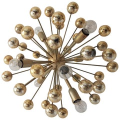 Vintage Brass Sputnik Chandelier Hollywood Regency, 1970s