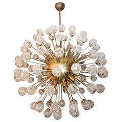 Brass Sputnik Chandelier, with Clear Glass Roses, 1980s