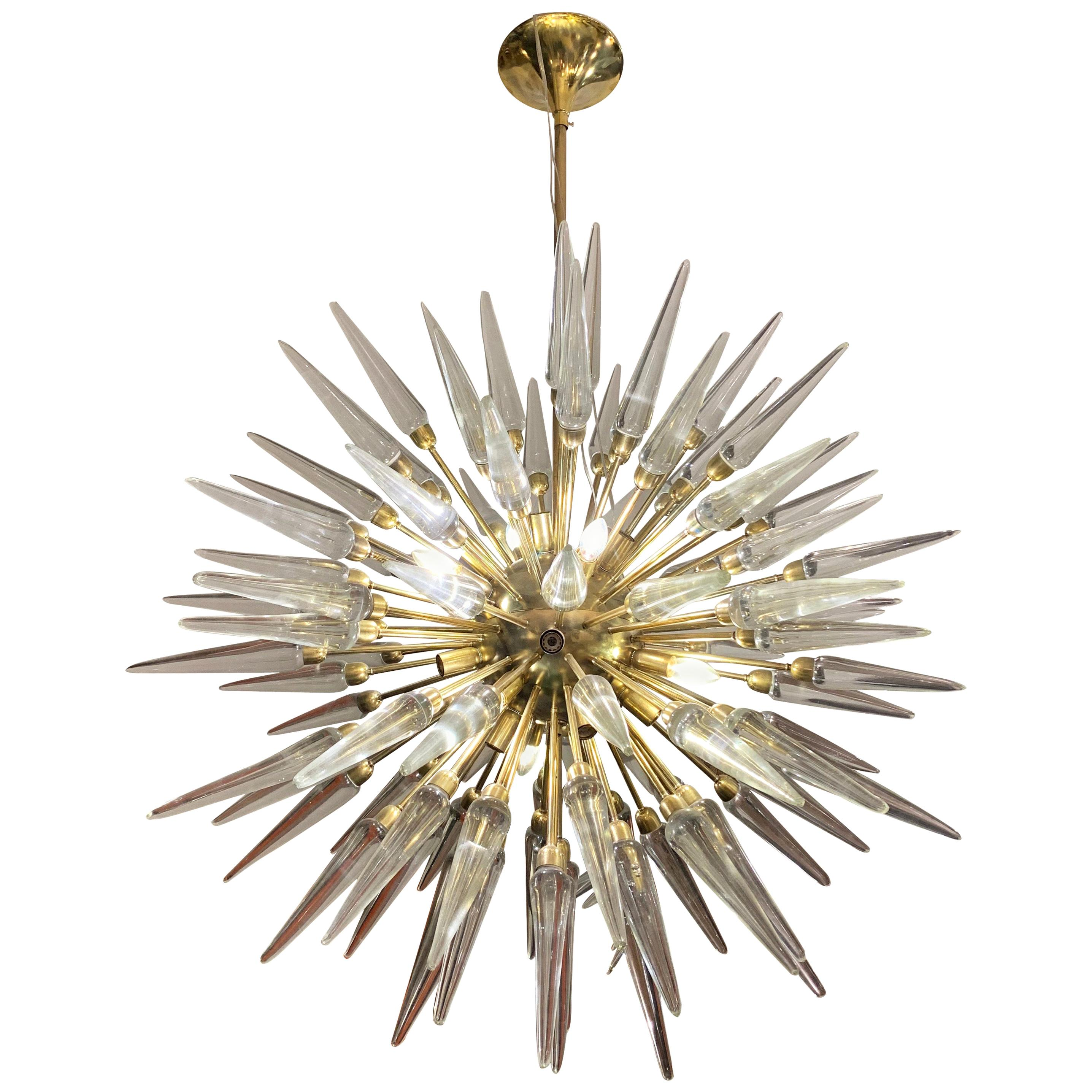 Brass Sputnik Chandelier with Murano Clear Glass Tips, 1970s