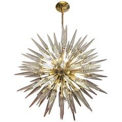 Brass Sputnik Chandelier with Murano Clear Glass Tips, 1970s