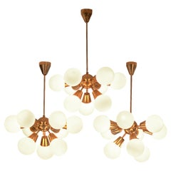 Brass Sputnik Chandelier with Opaline Glass Spheres