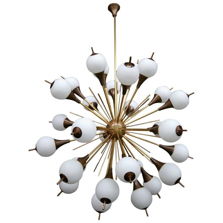 Brass Sputnik Chandelier with White Balls For Sale