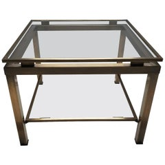 Brass Square 2-Tier Side Table with Glass by Maison Jansen, 1970s