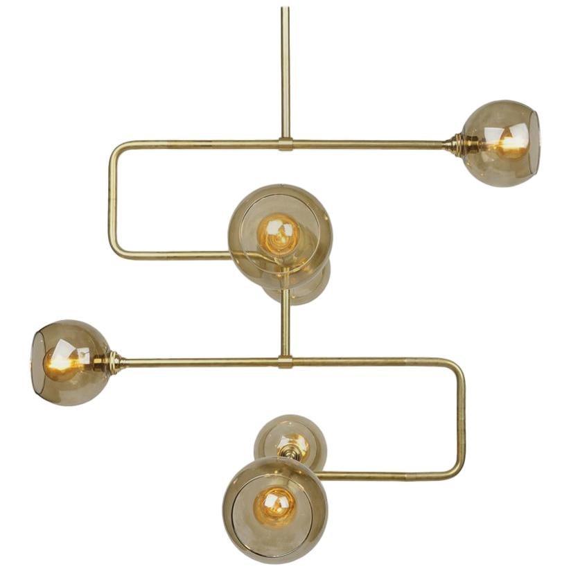 Brass Stacked Triple Circuit Chandelier Pendant Light