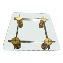 Brass, Stainless Steel and Glass Large 1970s Modern Chic Coffee Table