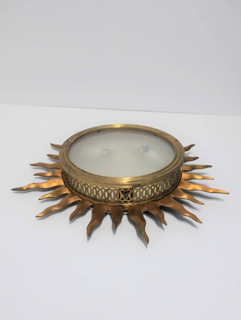 20th Century Brass Starburst Flush Mount Ceiling Lights For Sale