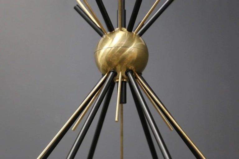 Mid-Century Modern Brass Stilnovo Ceiling Lamp with Six Opal Glass Shades For Sale