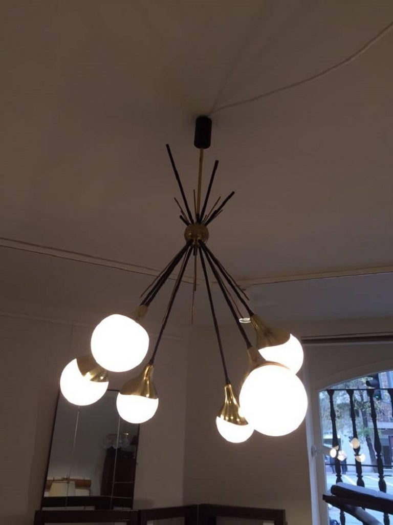 20th Century Brass Stilnovo Ceiling Lamp with Six Opal Glass Shades For Sale