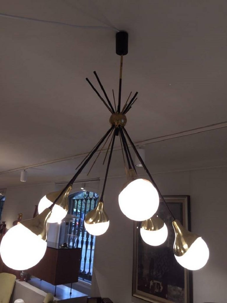 Opaline Glass Brass Stilnovo Ceiling Lamp with Six Opal Glass Shades For Sale