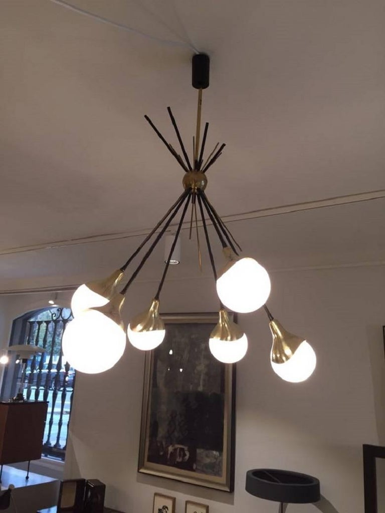 Brass Stilnovo Ceiling Lamp with Six Opal Glass Shades For Sale 1
