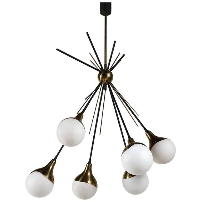 Brass Stilnovo Ceiling Lamp with Six Opal Glass Shades For Sale