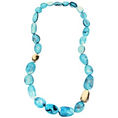 Brass Stone Necklace in Moody Blue