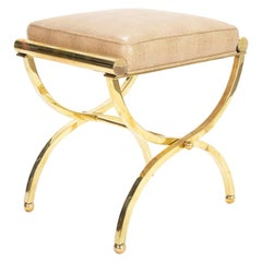 Brass Stool in the Manner of Billy Haines by Jebejian Brothers