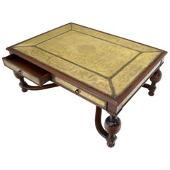 Brass Stud Finished Rectangular Spanish Style Coffee Table with 4 Drawers