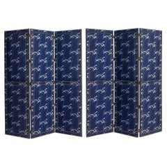 Brass Studded and Blue and White Upholstered Chinoiserie Fabric Dragon Screen