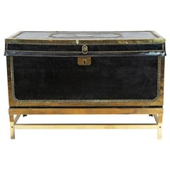 Brass Studded Leather Trunk on Stand