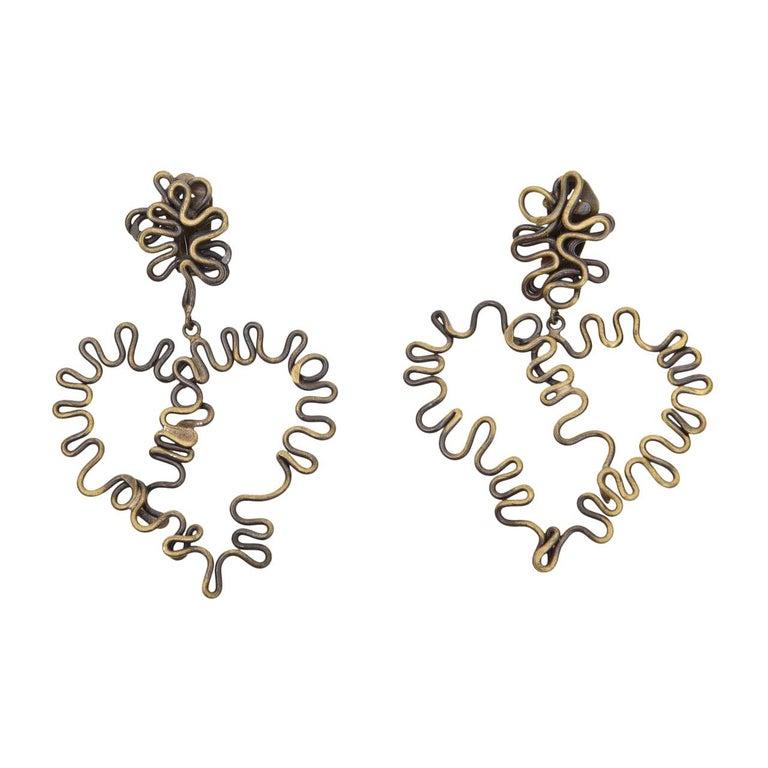 Brass Studio Sculptural Clip On Dangle Earrings Vintage  For Sale