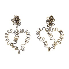 Brass Studio Sculptural Clip On Dangle Earrings Vintage