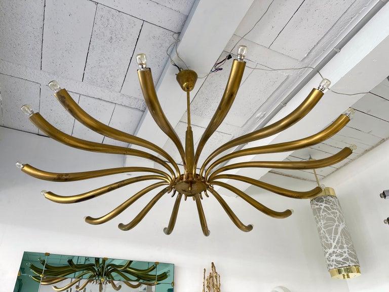 Italian Brass Sun Chandelier by Guglielmo Ulrich, Italy, 1960s
