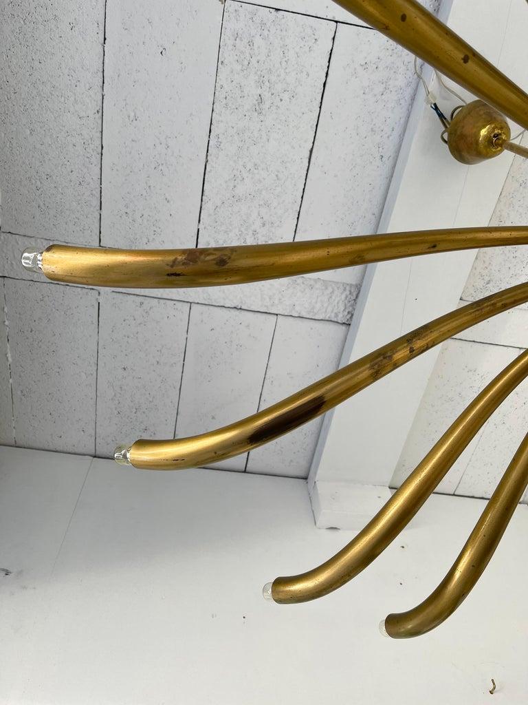 Mid-20th Century Brass Sun Chandelier by Guglielmo Ulrich, Italy, 1960s