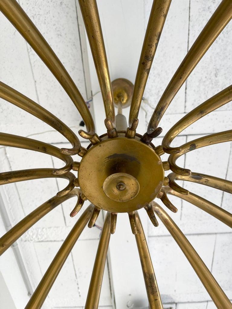 Brass Sun Chandelier by Guglielmo Ulrich, Italy, 1960s 1