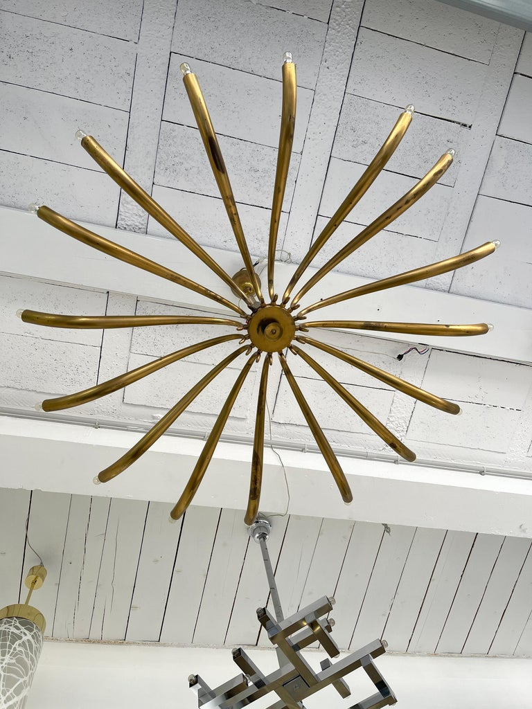 Brass Sun Chandelier by Guglielmo Ulrich, Italy, 1960s 2