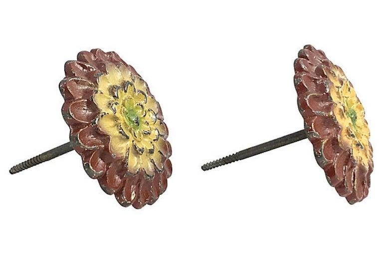 20th Century Brass Sunflower Flower Curtain Tiebacks, Pair For Sale