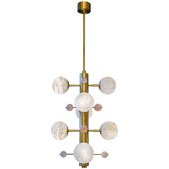 Brass Suspension with Alabaster Globes and Quartz by Glustin Luminaires Creation