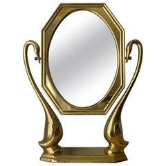 Brass Swan Motif Vanity Mirror