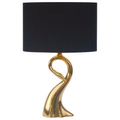 Brass Swan Table Lamp, 1970s, Italy