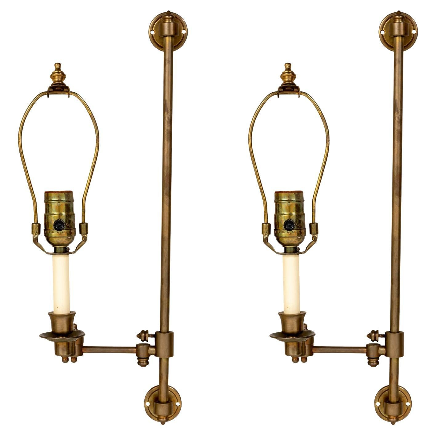 Brass Swing Arm Library Sconces