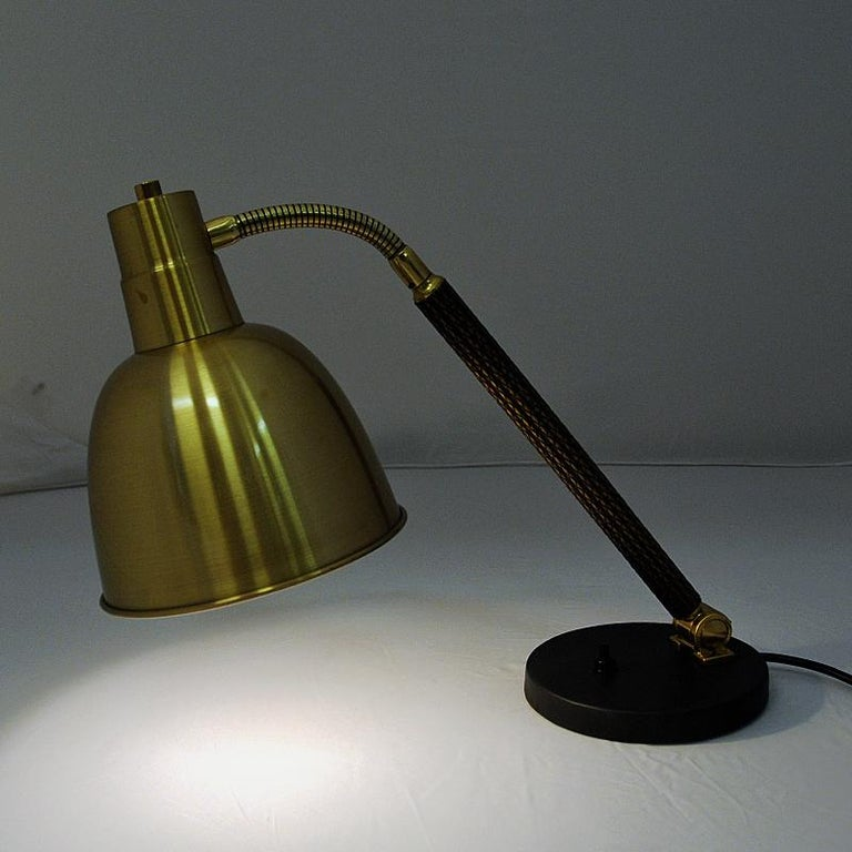 Scandinavian Modern Brass Table and Desk Lamp by Selecto AS, Norway, 1950s For Sale