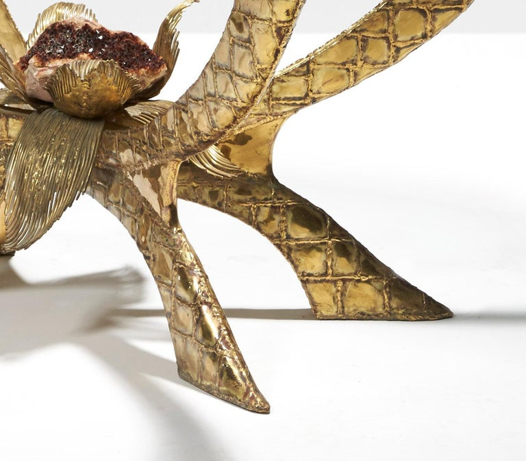 Baroque Brass Table by Jacques Duval-Brasseur For Sale