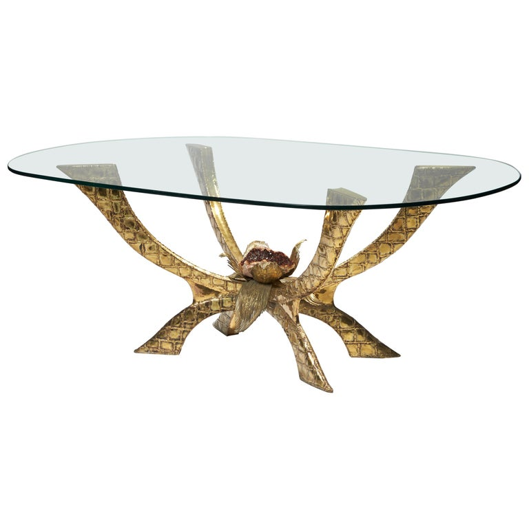 Brass Table by Jacques Duval-Brasseur For Sale