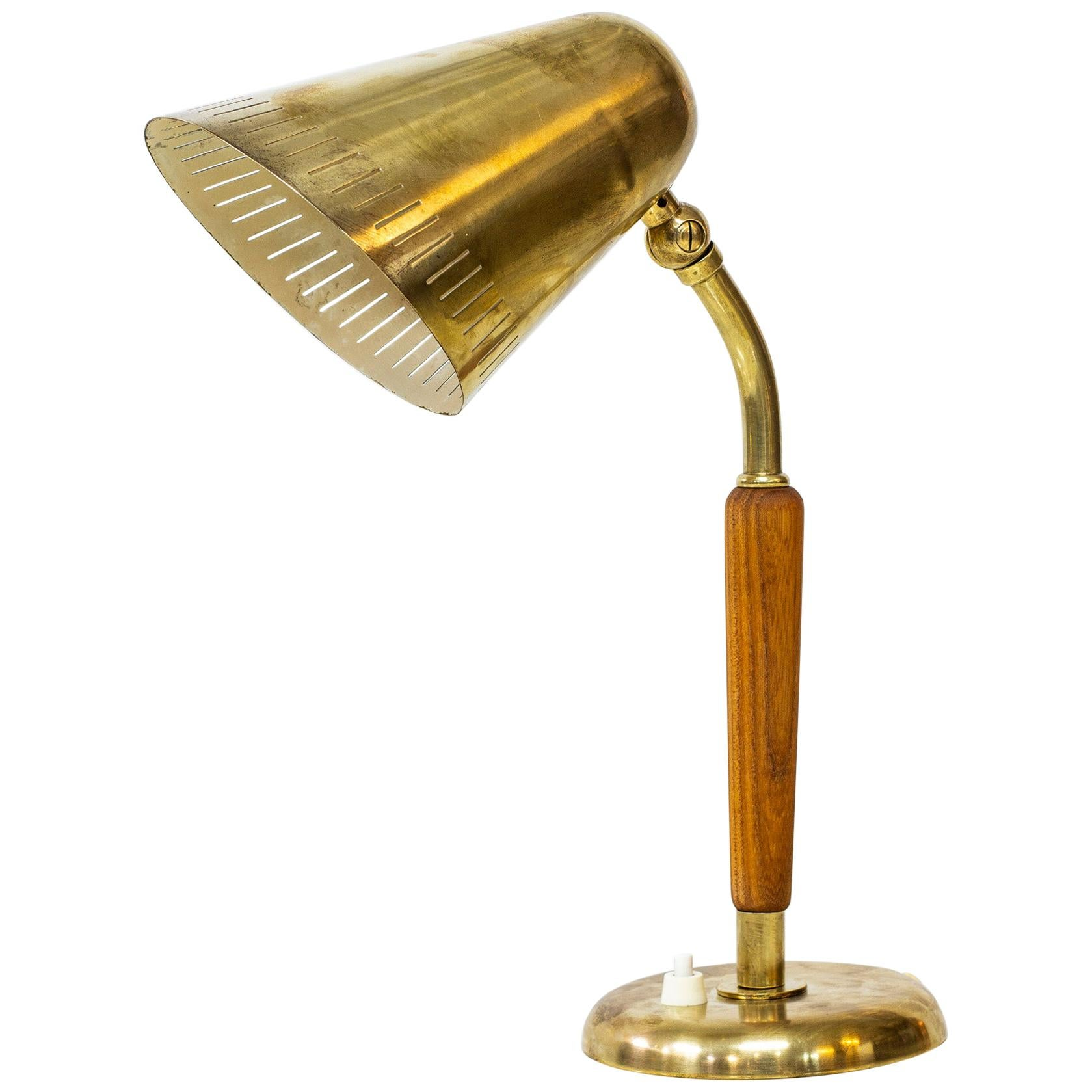 Brass Table Lamp by Harald Elof Notini for Böhlmarks, Sweden, 1940s
