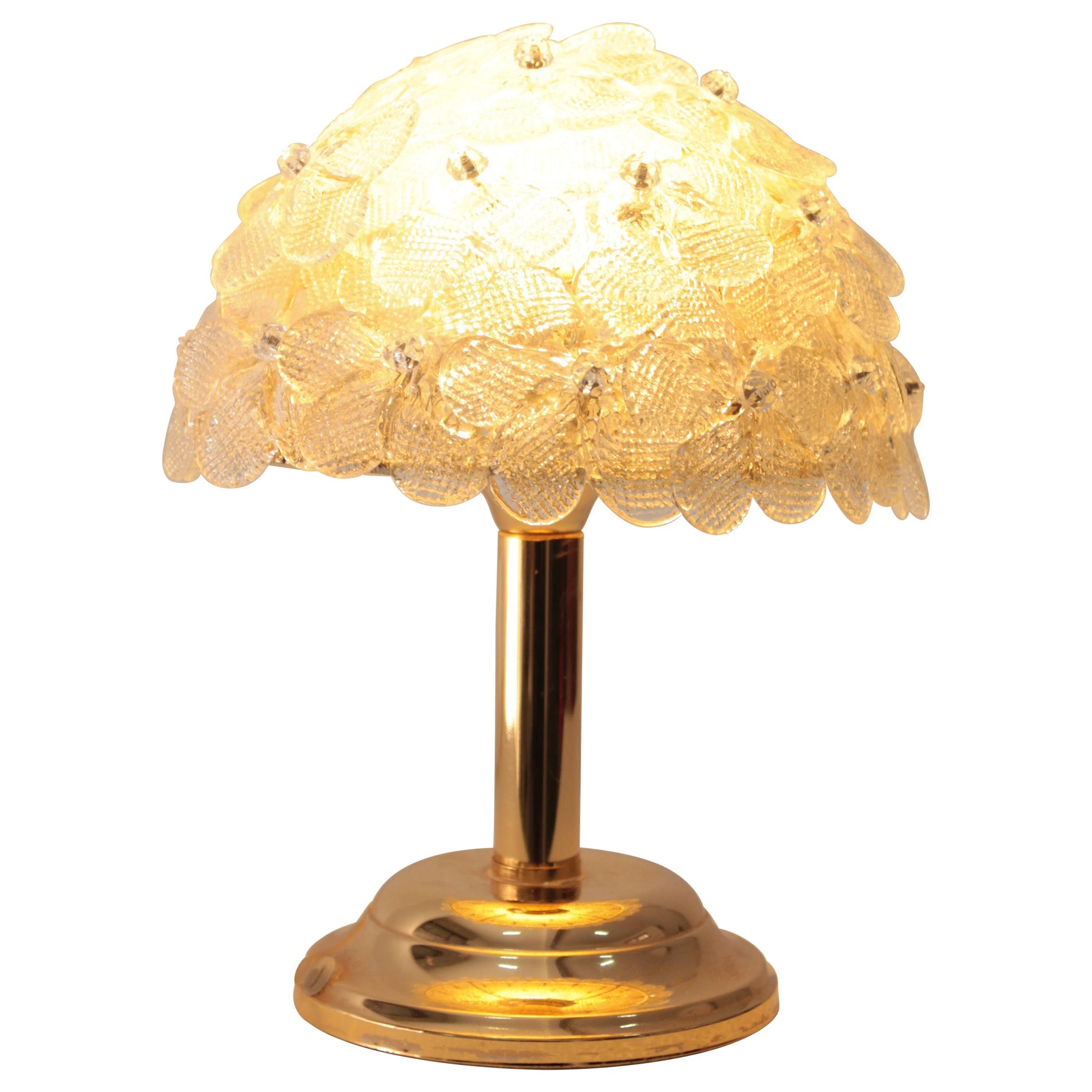 Brass Table Lamp Murano Glass Flowers Seguso, 1970s