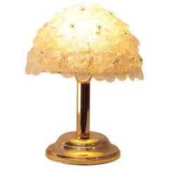 Brass Table Lamp Murano Glass Flowers Seguso, 1970s