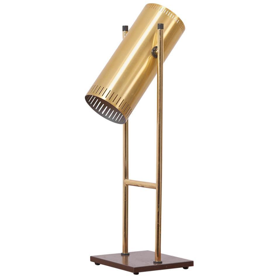 Brass Table Lamp 'Trombone' by Jo Hammerborg for Fog & Mørup, Denmark, 1960s