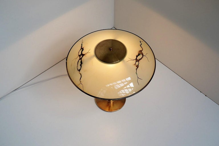 Mid-Century Modern Brass Table Lamp with Glass Shade, Rare Danish Vintage Design from the 1940s For Sale