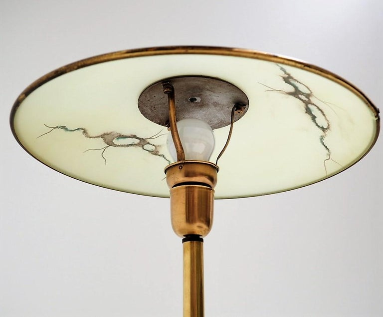 Mid-20th Century Brass Table Lamp with Glass Shade, Rare Danish Vintage Design from the 1940s For Sale